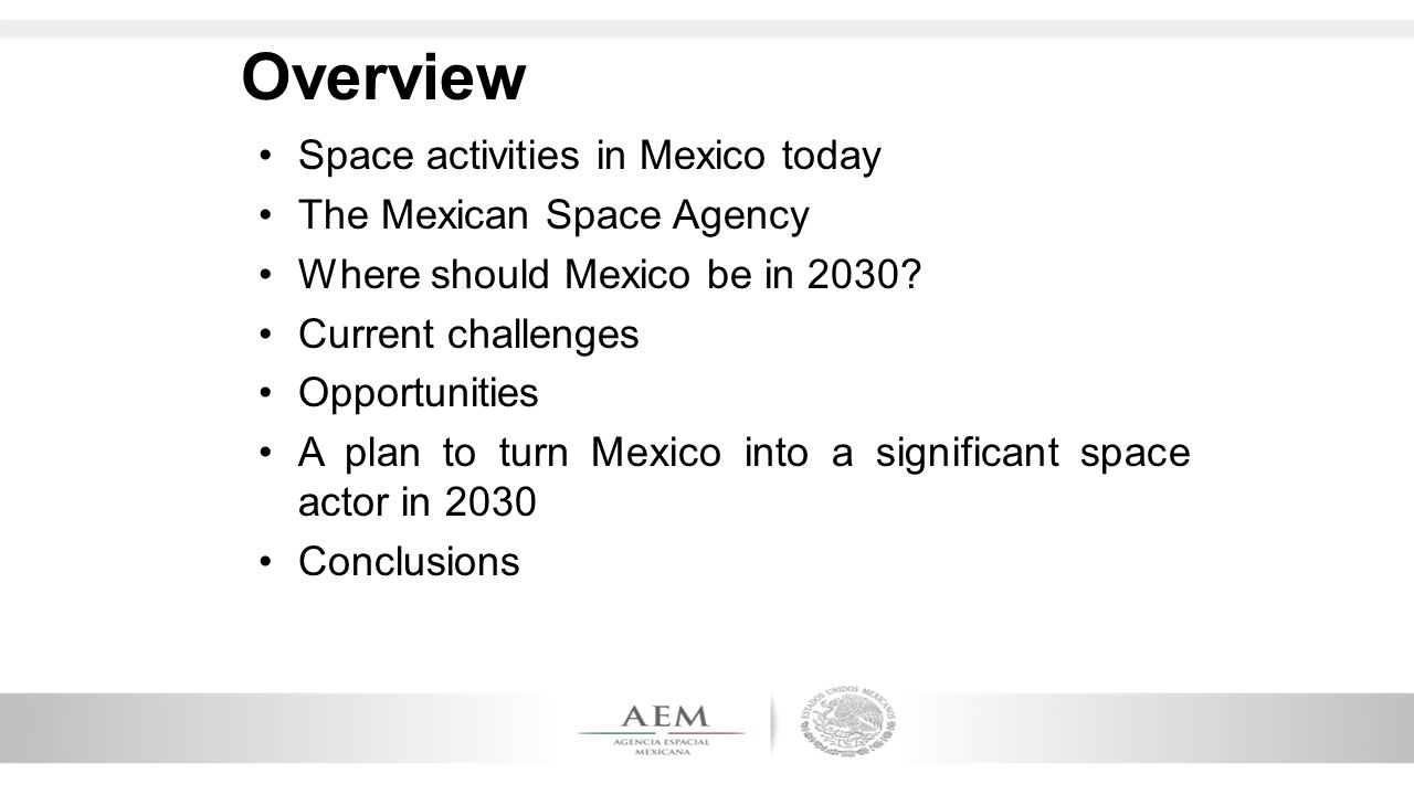 13 Vision 2030 Mexico makes significant contributions to space S&T PlanningAndFunding Industrial development and competitiveness InternationalAffairsandSecurity Science and technology development development Human capital development Human capital development in the space field in the space field