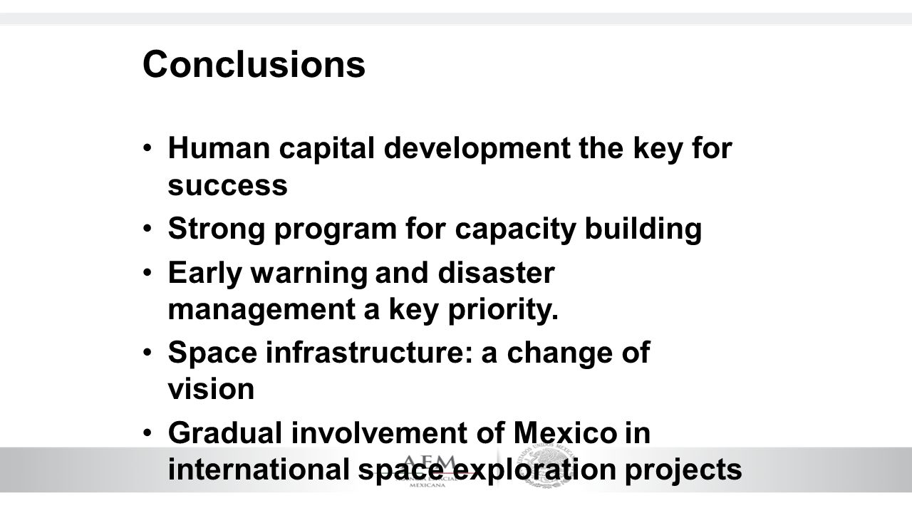 Conclusions Human capital development the key for success Strong program for capacity building Early warning and disaster management a key priority. S