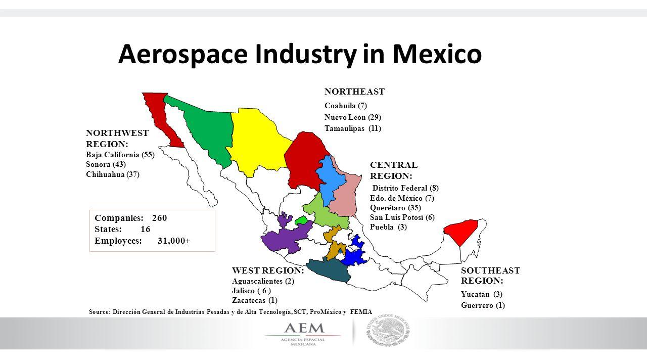 Companies: 260 States: 16 Employees: 31,000+ NORTHEAST Coahuila (7) Nuevo León (29) Tamaulipas (11) SOUTHEAST REGION: Yucatán (3) Guerrero (1) CENTRAL REGION: Distrito Federal (8) Edo.