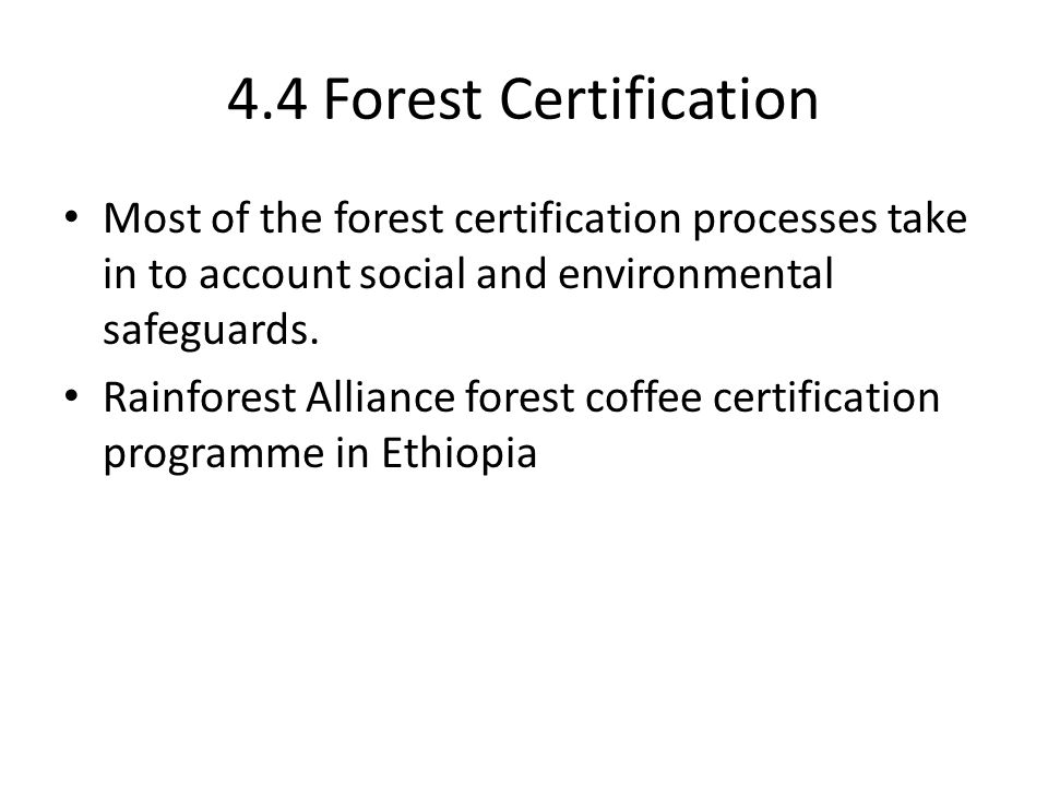 4.4 Forest Certification Most of the forest certification processes take in to account social and environmental safeguards. Rainforest Alliance forest