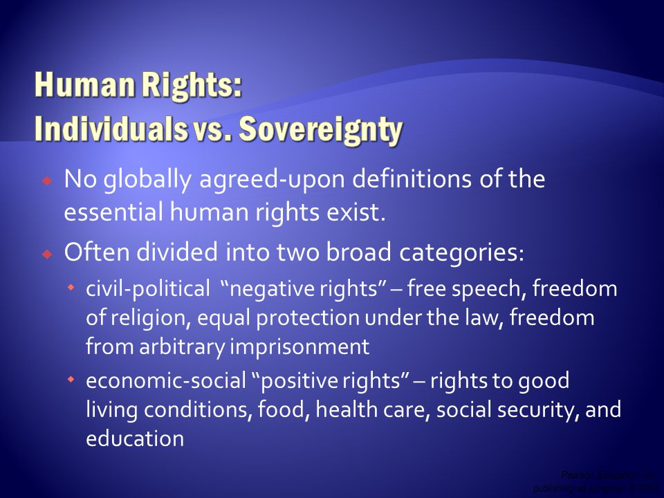  No globally agreed-upon definitions of the essential human rights exist.