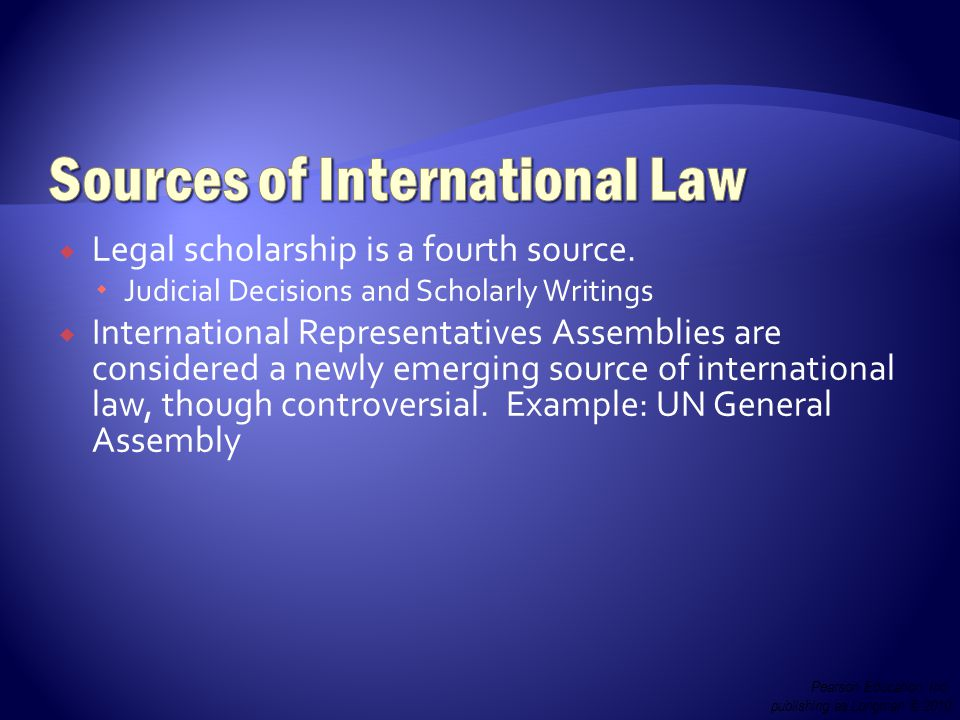  Legal scholarship is a fourth source.