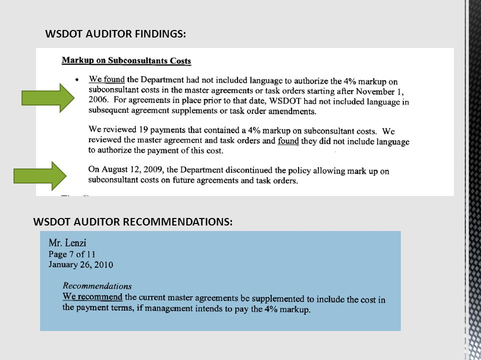 WSDOT AUDITOR FINDINGS: WSDOT AUDITOR RECOMMENDATIONS: