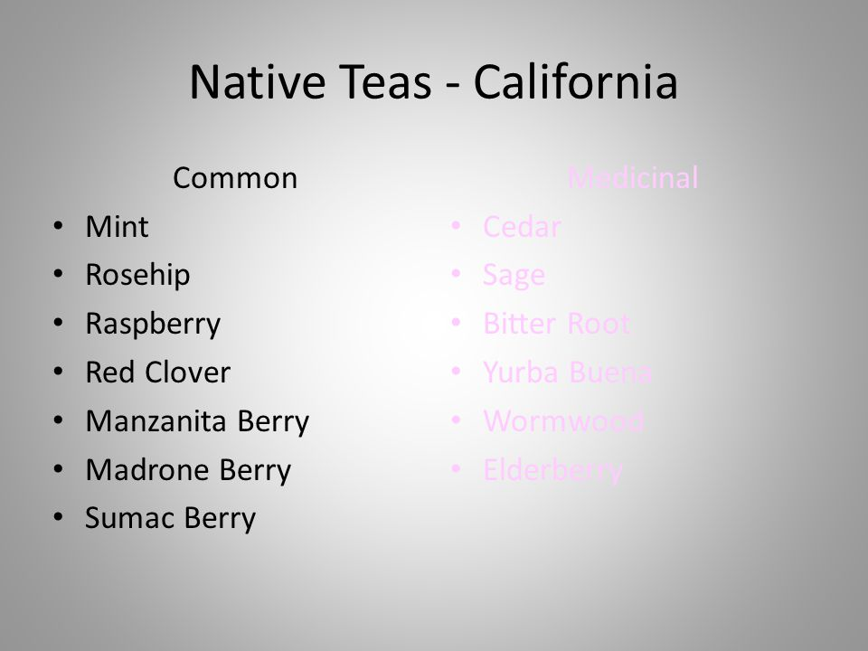 Native Teas - California Common Mint Rosehip Raspberry Red Clover Manzanita Berry Madrone Berry Sumac Berry Medicinal Cedar Sage Bitter Root Yurba Buena Wormwood Elderberry