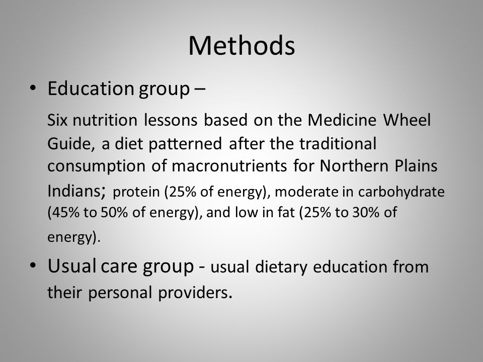 Methods Education group – Six nutrition lessons based on the Medicine Wheel Guide, a diet patterned after the traditional consumption of macronutrients for Northern Plains Indians ; protein (25% of energy), moderate in carbohydrate (45% to 50% of energy), and low in fat (25% to 30% of energy).