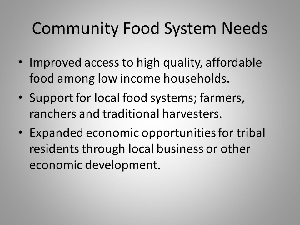 Community Food System Needs Improved access to high quality, affordable food among low income households.