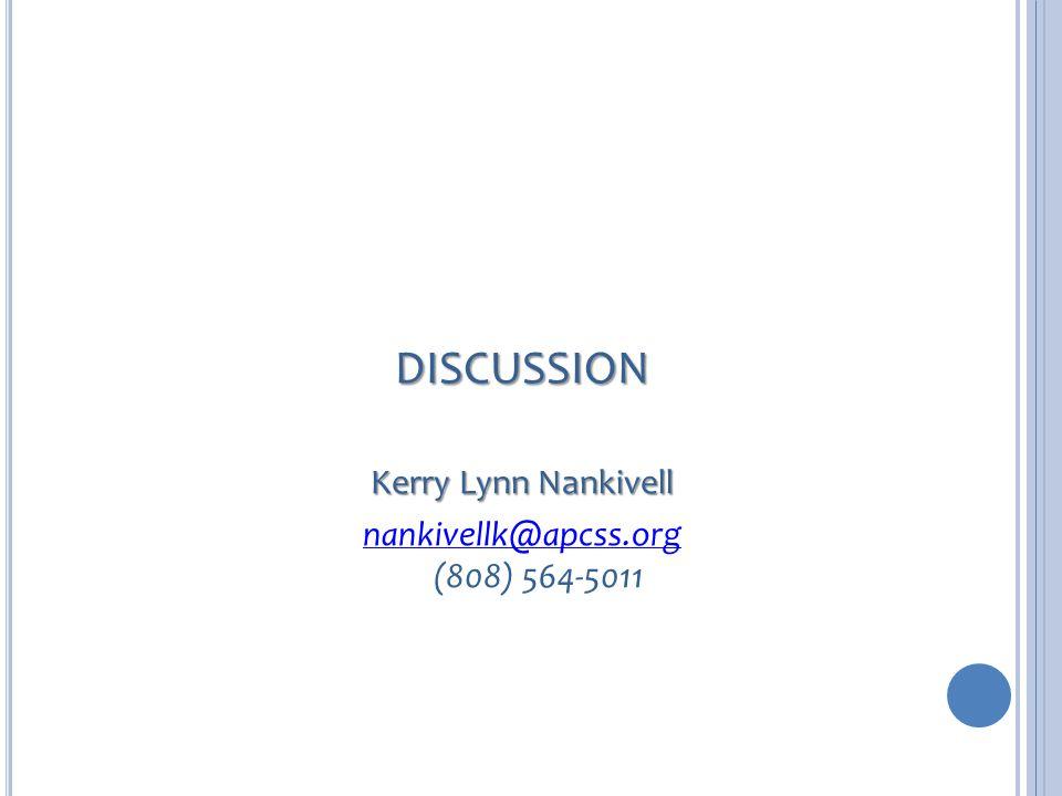 DISCUSSION Kerry Lynn Nankivell nankivellk@apcss.org nankivellk@apcss.org (808) 564-5011