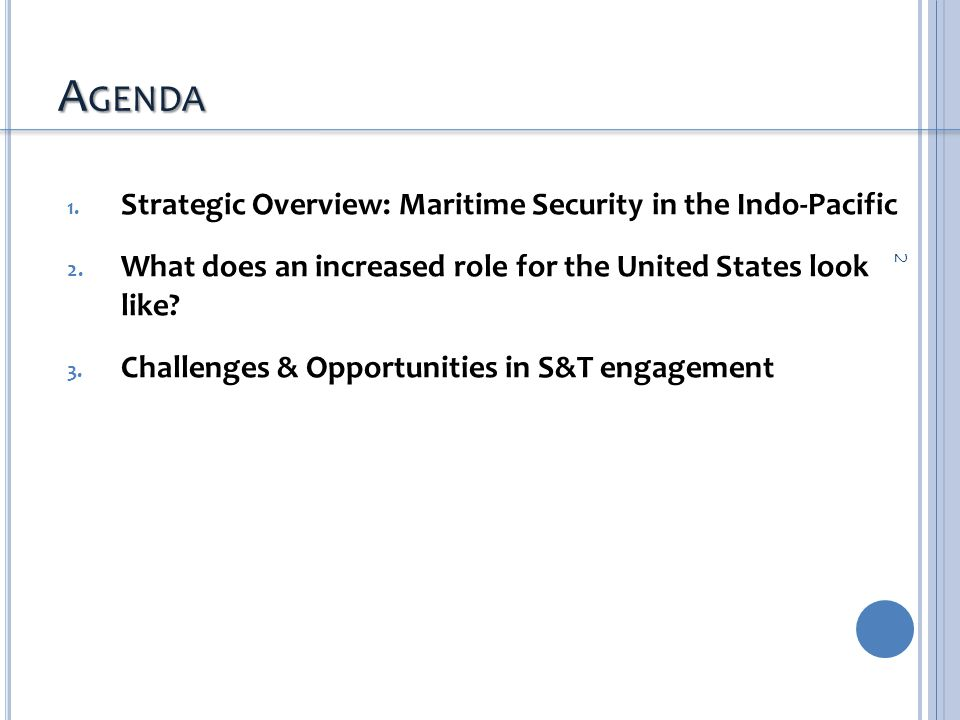 A GENDA 1.Strategic Overview: Maritime Security in the Indo-Pacific 2.