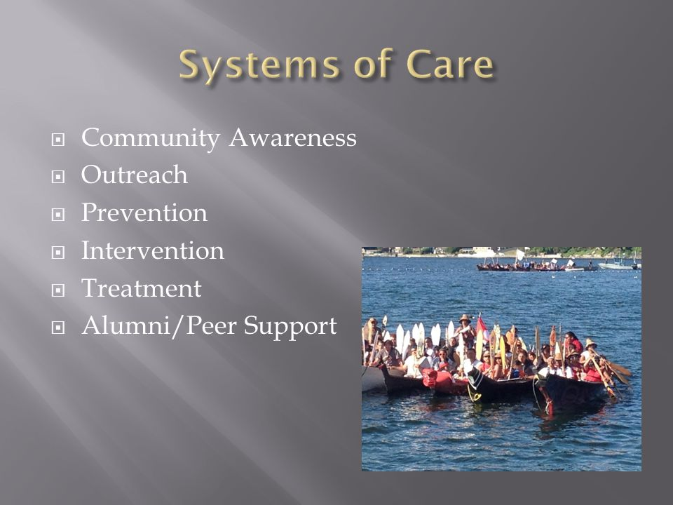  Community Awareness  Outreach  Prevention  Intervention  Treatment  Alumni/Peer Support