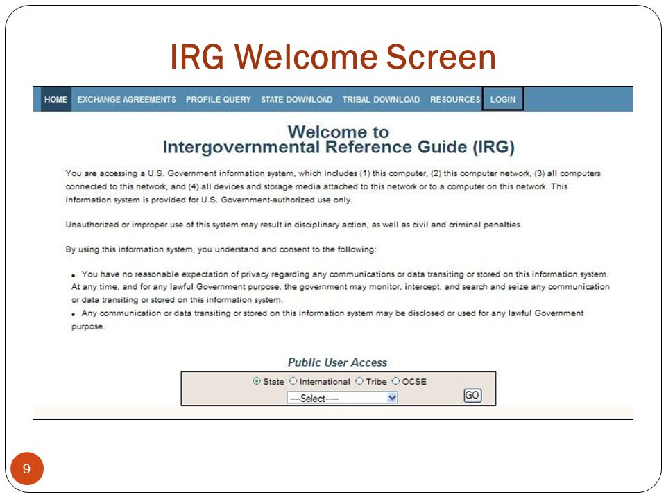 IRG Welcome Screen 9