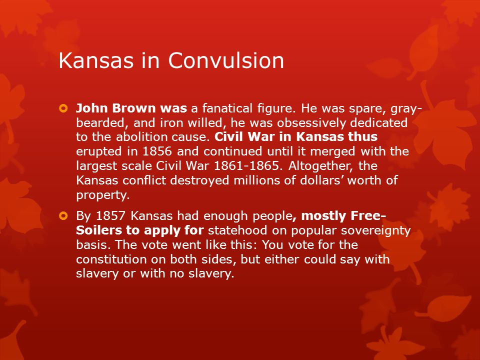 Kansas in Convulsion  If they voted against slavery, one of the remaining provisions of the constitution would protect the owners of slaves already in Kansas.