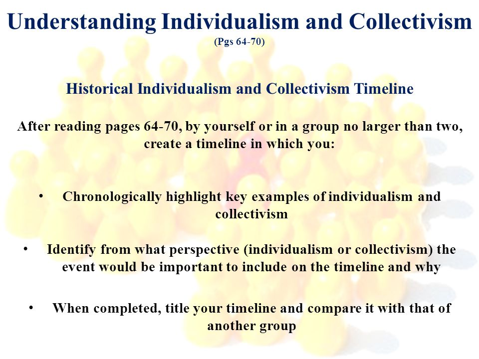 Understanding Individualism and Collectivism (Pgs 64-70) Historical Individualism and Collectivism Timeline After reading pages 64-70, by yourself or