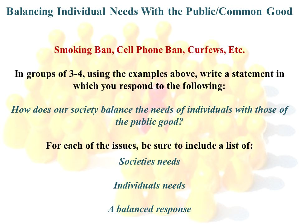 Balancing Individual Needs With the Public/Common Good Smoking Ban, Cell Phone Ban, Curfews, Etc. In groups of 3-4, using the examples above, write a