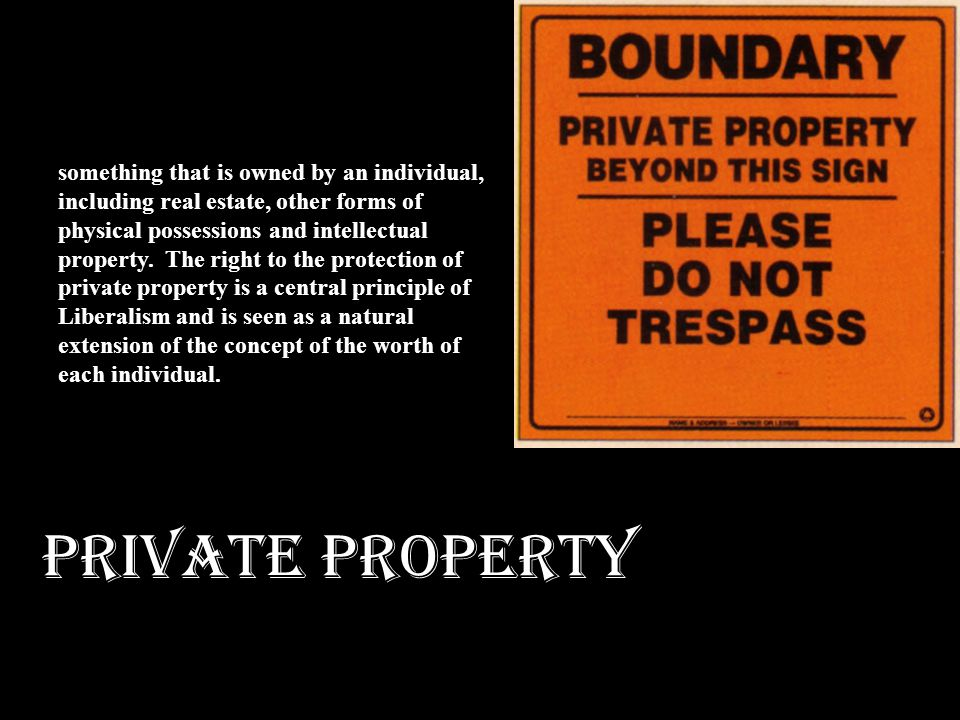 PRIVATE PROPERTY something that is owned by an individual, including real estate, other forms of physical possessions and intellectual property. The r