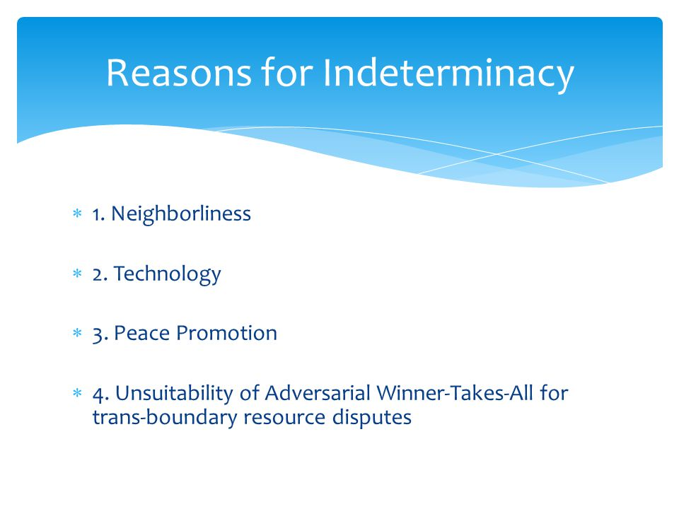  1. Neighborliness  2. Technology  3. Peace Promotion  4.