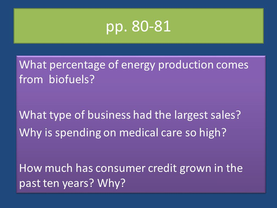 pp. 80-81 What percentage of energy production comes from biofuels? What type of business had the largest sales? Why is spending on medical care so hi
