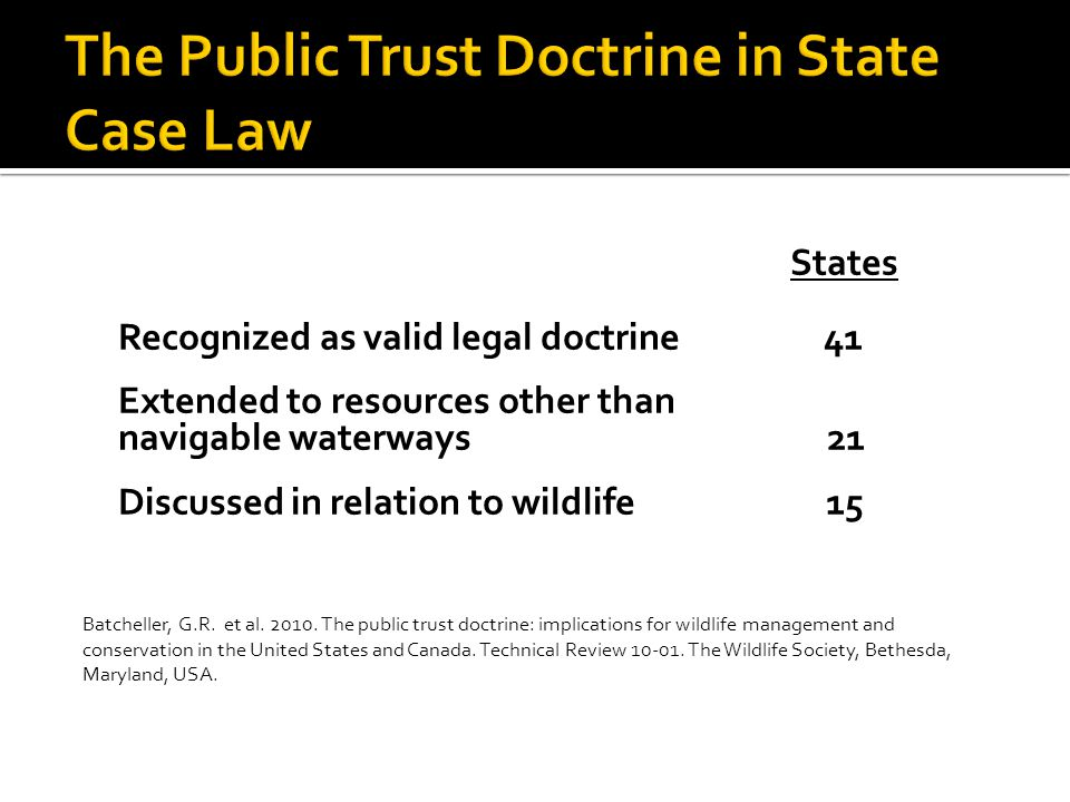 States Recognized as valid legal doctrine 41 Extended to resources other than navigable waterways 21 Discussed in relation to wildlife 15 Batcheller, G.R.