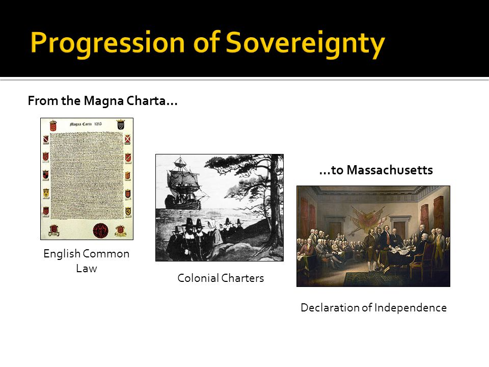 From the Magna Charta… English Common Law Colonial Charters Declaration of Independence …to Massachusetts