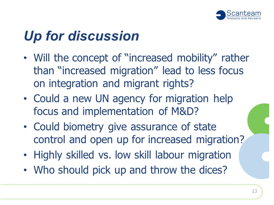 """Up for discussion Will the concept of """"increased mobility"""" rather than """"increased migration"""" lead to less focus on integration and migrant rights? Cou"""