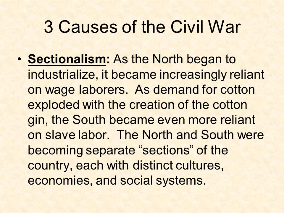 3 Causes of the Civil War States' Rights: The old debate over federalism had never really died.