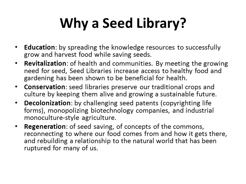 Why a Seed Library.