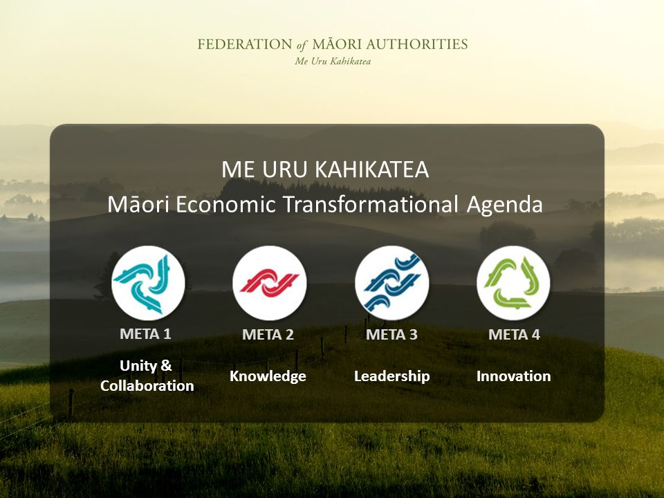 Unity & Collaboration KnowledgeLeadershipInnovation META 1 META 2META 3META 4 Māori Economic Transformational Agenda ME URU KAHIKATEA