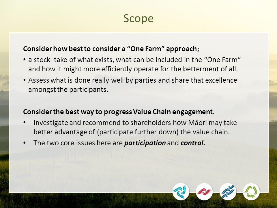 Scope Consider how best to consider a One Farm approach; a stock- take of what exists, what can be included in the One Farm and how it might more efficiently operate for the betterment of all.