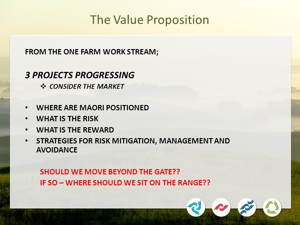 The Value Proposition FROM THE ONE FARM WORK STREAM; 3 PROJECTS PROGRESSING  CONSIDER THE MARKET WHERE ARE MAORI POSITIONED WHAT IS THE RISK WHAT IS THE REWARD STRATEGIES FOR RISK MITIGATION, MANAGEMENT AND AVOIDANCE SHOULD WE MOVE BEYOND THE GATE?.