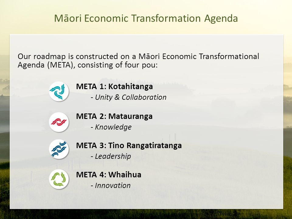 Māori Economic Transformation Agenda Our roadmap is constructed on a Māori Economic Transformational Agenda (META), consisting of four pou: META 1: Kotahitanga - Unity & Collaboration META 2: Matauranga - Knowledge META 3: Tino Rangatiratanga - Leadership META 4: Whaihua - Innovation