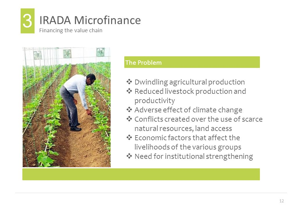 12 IRADA Microfinance Financing the value chain The Problem  Dwindling agricultural production  Reduced livestock production and productivity  Adverse effect of climate change  Conflicts created over the use of scarce natural resources, land access  Economic factors that affect the livelihoods of the various groups  Need for institutional strengthening 3
