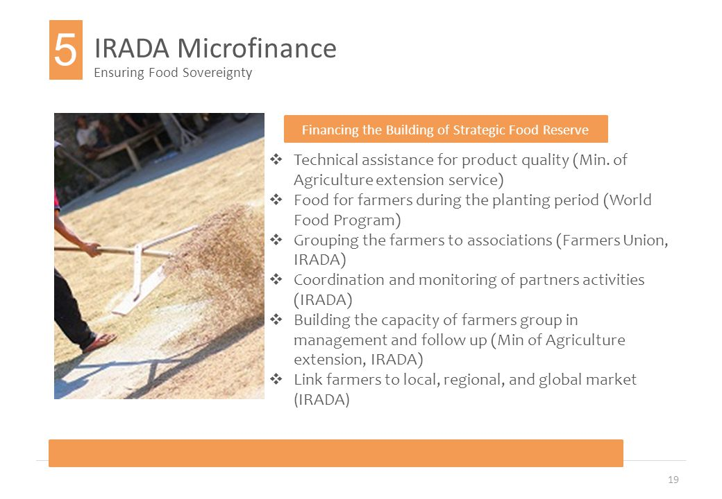 19 IRADA Microfinance Ensuring Food Sovereignty Financing the Building of Strategic Food Reserve  Technical assistance for product quality (Min.