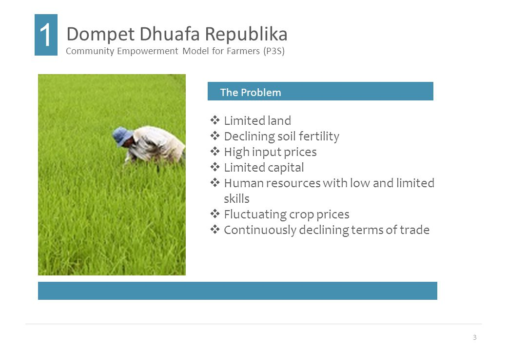 3 Dompet Dhuafa Republika 1 Community Empowerment Model for Farmers (P3S) The Problem  Limited land  Declining soil fertility  High input prices  Limited capital  Human resources with low and limited skills  Fluctuating crop prices  Continuously declining terms of trade