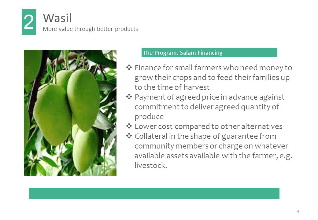 9 Wasil 2 More value through better products The Program: Salam Financing  Finance for small farmers who need money to grow their crops and to feed their families up to the time of harvest  Payment of agreed price in advance against commitment to deliver agreed quantity of produce  Lower cost compared to other alternatives  Collateral in the shape of guarantee from community members or charge on whatever available assets available with the farmer, e.g.