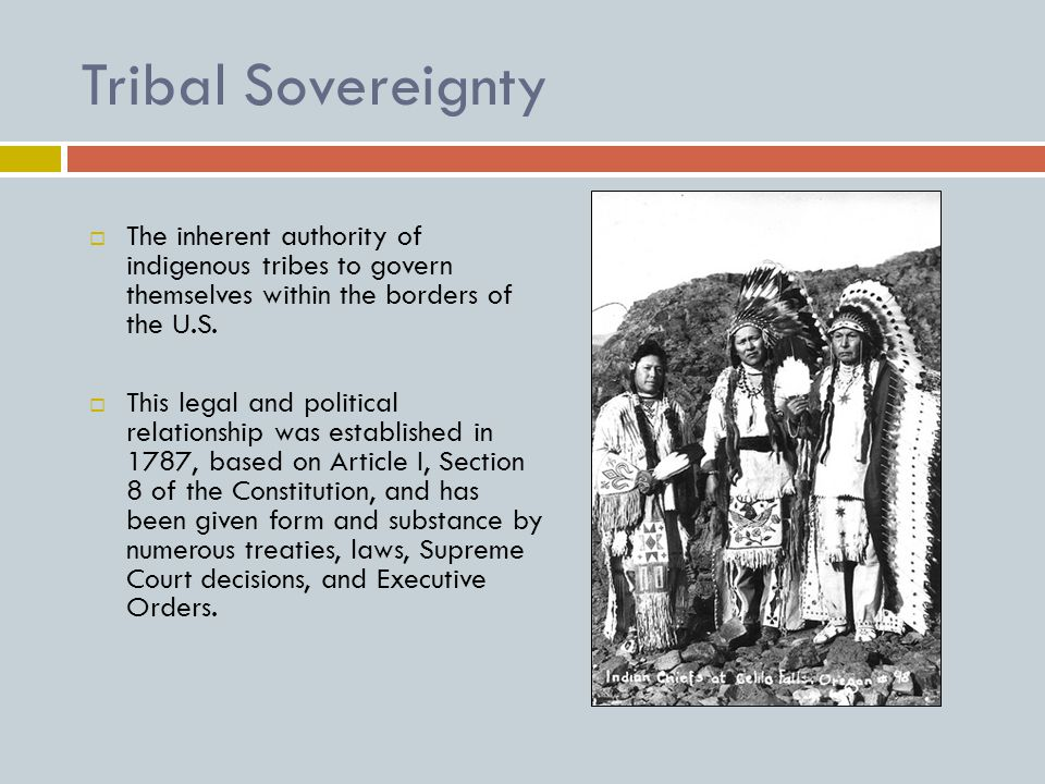 Tribal Sovereignty  The inherent authority of indigenous tribes to govern themselves within the borders of the U.S.