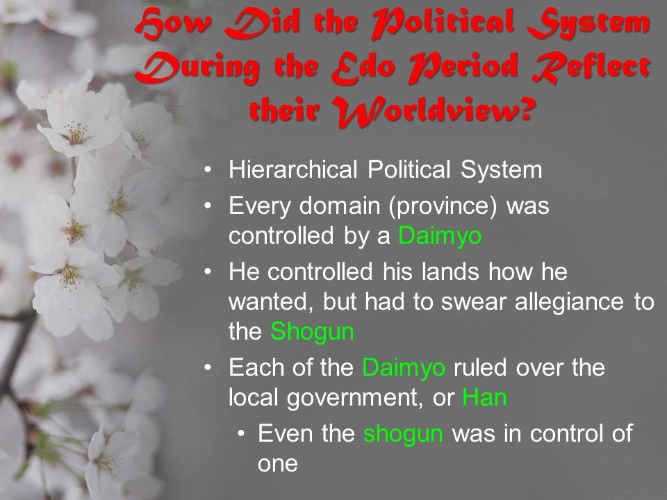 How Did the Political System During the Edo Period Reflect their Worldview? Hierarchical Political System Every domain (province) was controlled by a