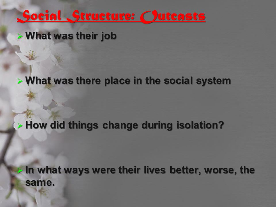 Social Structure: Outcasts  What was their job  What was there place in the social system  How did things change during isolation?  In what ways w
