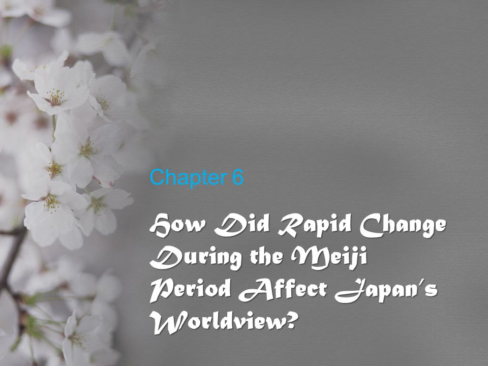 Chapter 6 How Did Rapid Change During the Meiji Period Affect Japan's Worldview?