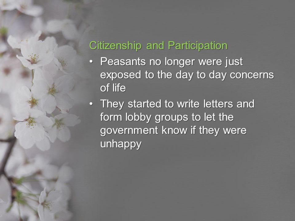 Citizenship and Participation Peasants no longer were just exposed to the day to day concerns of lifePeasants no longer were just exposed to the day t