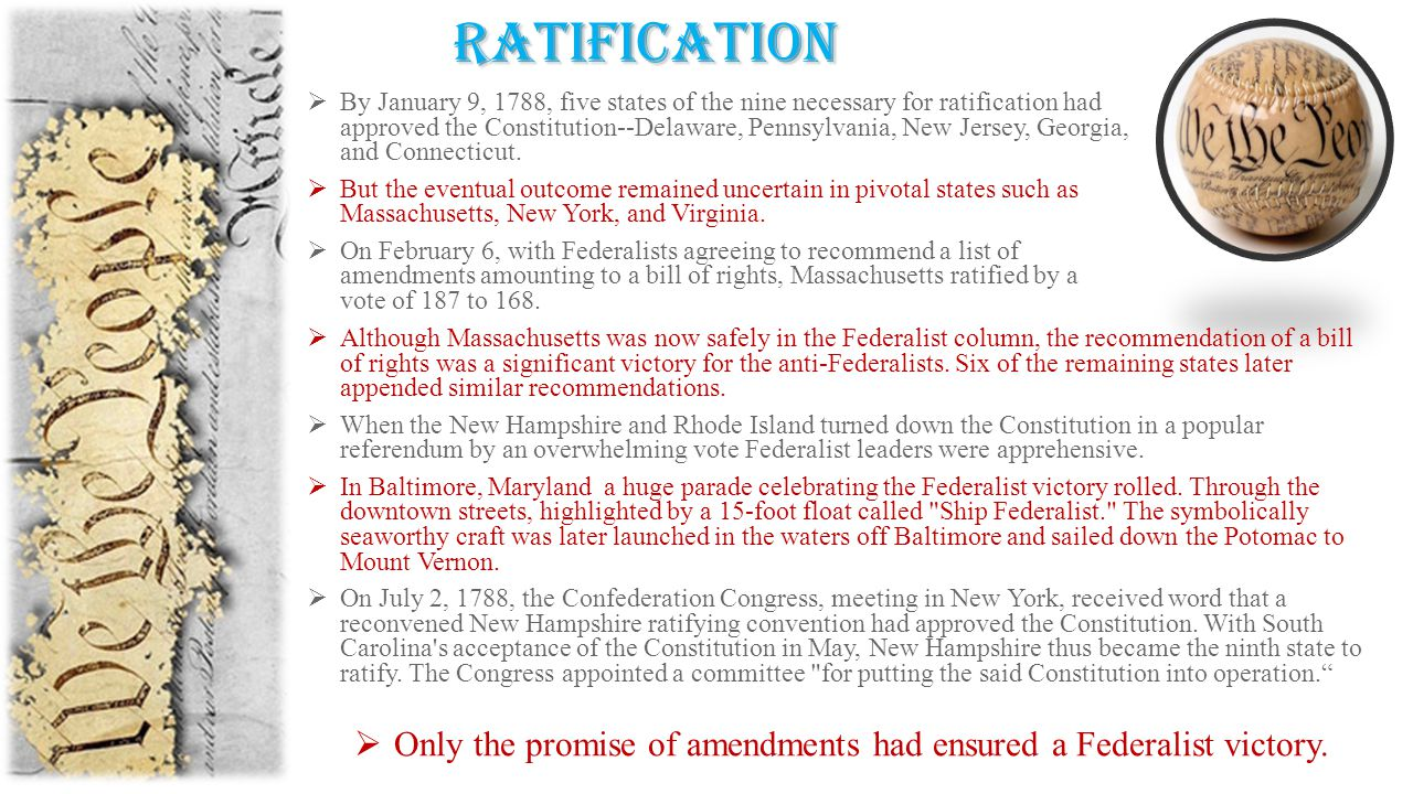 ratification  Although Massachusetts was now safely in the Federalist column, the recommendation of a bill of rights was a significant victory for the anti-Federalists.