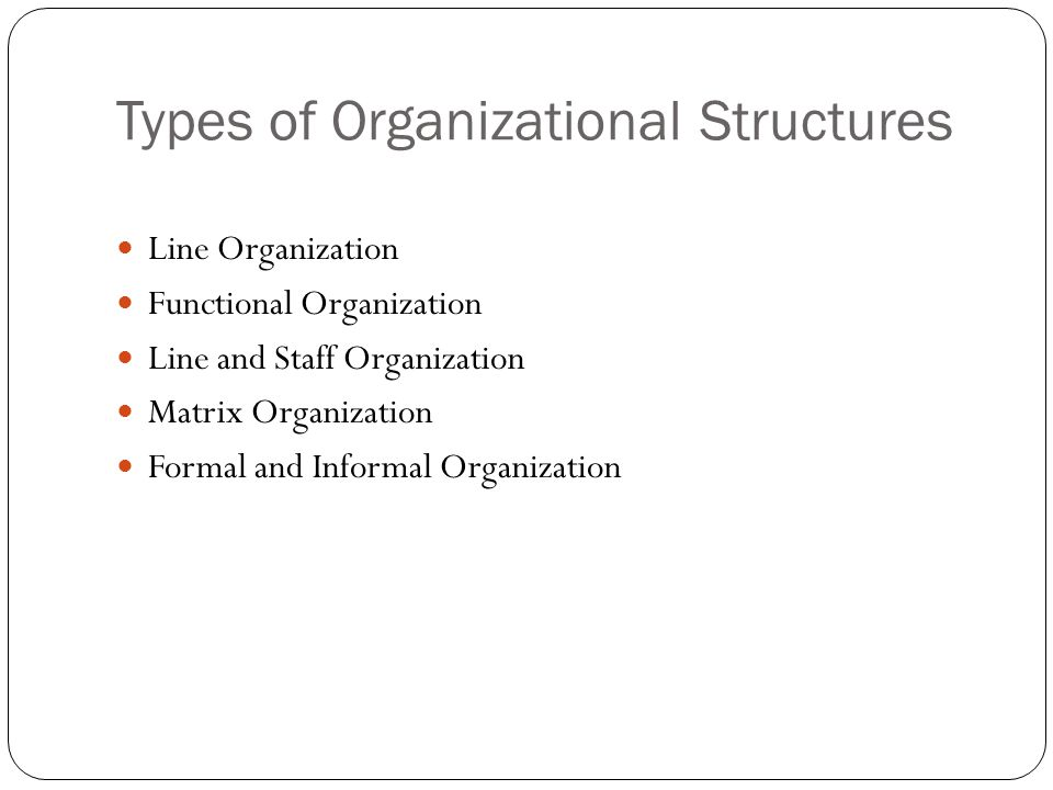 Types of Organizational Structures Line Organization Functional Organization Line and Staff Organization Matrix Organization Formal and Informal Organization