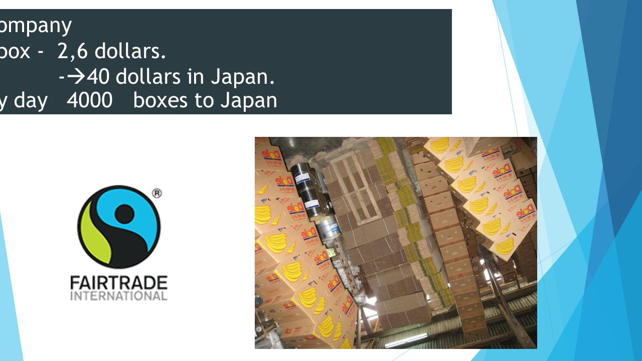 US company one box - 2,6 dollars. -  40 dollars in Japan. Every day 4000 boxes to Japan