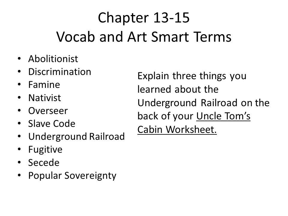 Chapter 13-15 Vocab and Art Smart Terms Abolitionist Discrimination Famine Nativist Overseer Slave Code Underground Railroad Fugitive Secede Popular S