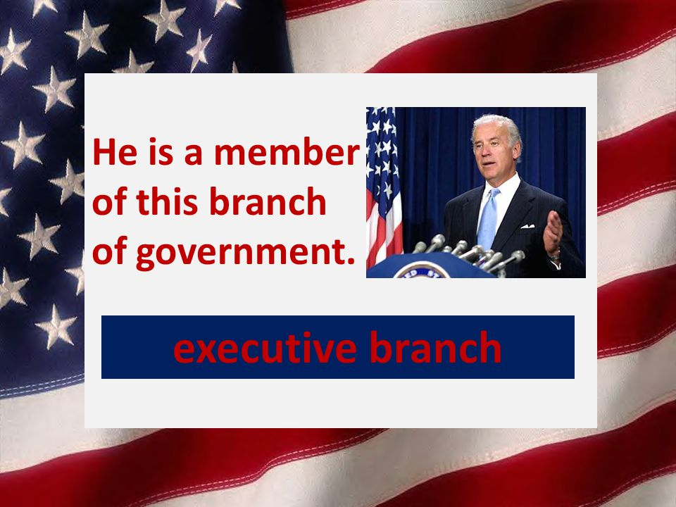He is a member of this branch of government. executive branch