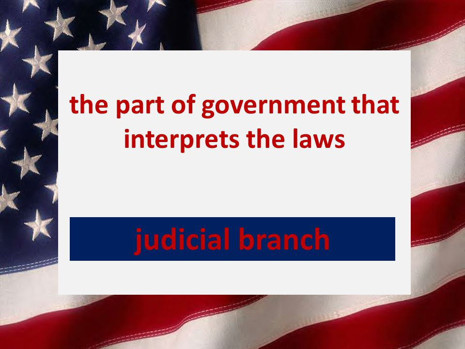 the part of government that interprets the laws judicial branch