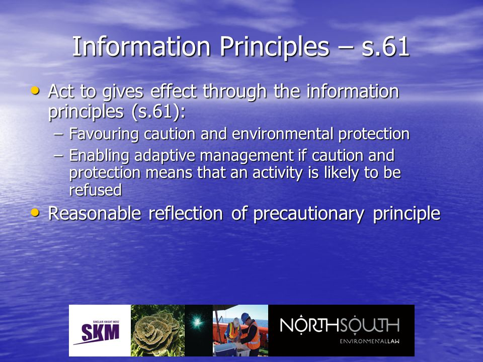 Information Principles – s.61 Act to gives effect through the information principles (s.61): Act to gives effect through the information principles (s