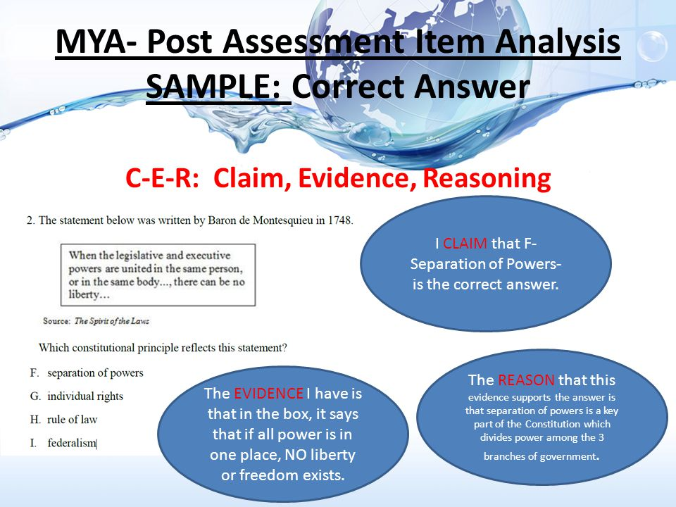 MYA- Post Assessment Item Analysis SAMPLE: Correct Answer C-E-R: Claim, Evidence, Reasoning I CLAIM that F- Separation of Powers- is the correct answer.