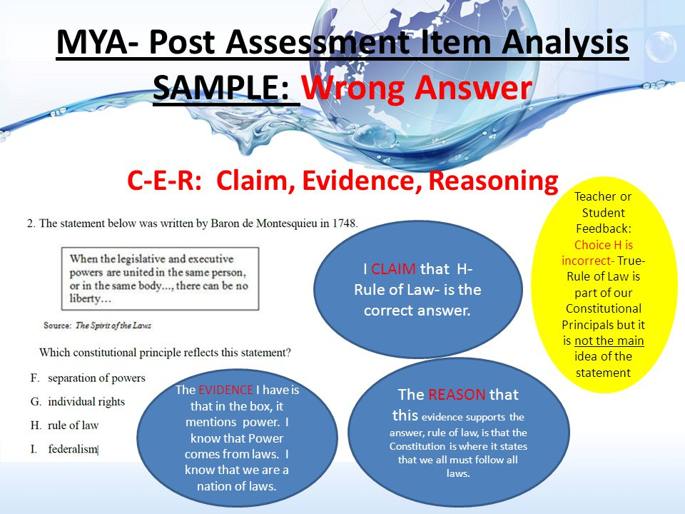 MYA- Post Assessment Item Analysis SAMPLE: Wrong Answer C-E-R: Claim, Evidence, Reasoning I CLAIM that H- Rule of Law- is the correct answer.