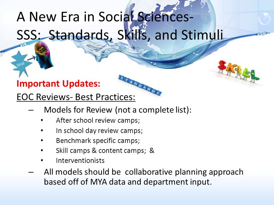 A New Era in Social Sciences- SSS: Standards, Skills, and Stimuli Civics MYA Data Analysis MYA Specifics: 66 questions in total 52 questions from instructed benchmarks (79% of MYA) 14 questions from non-instructed benchmarks (21% of MYA)