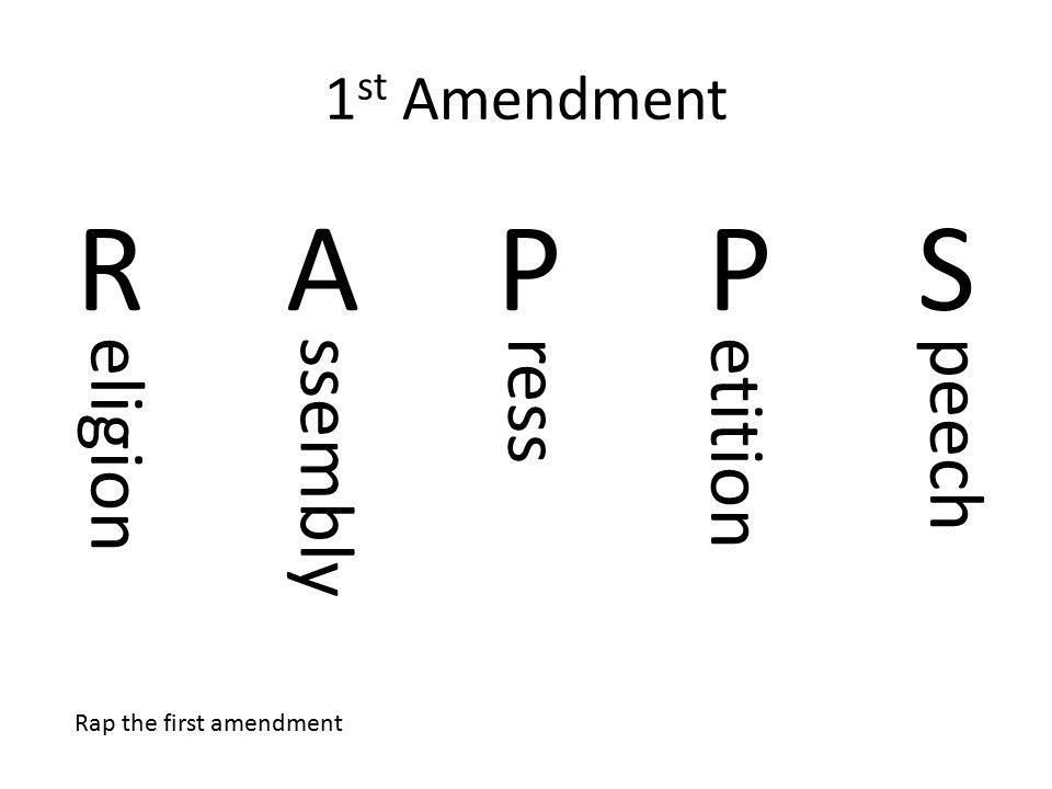 1 st Amendment RAPPSRAPPS eligionssemblyressetitionpeech Rap the first amendment