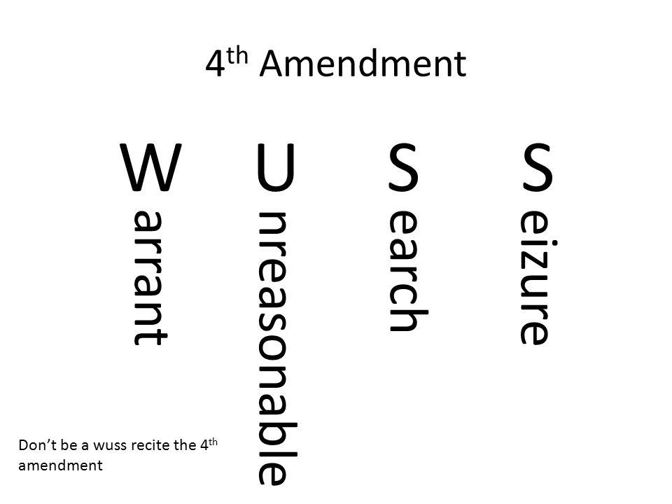 4 th Amendment WUSSWUSS arrantnreasonableearcheizure Don't be a wuss recite the 4 th amendment